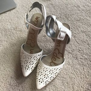 Sam Edelman White Heels with Floral cut outs. SZ 8